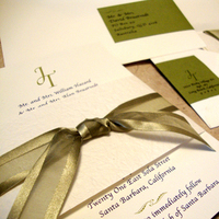Stationery, white, ivory, green, Invitations, Ribbon, Wedding invitation, Belly band, Papercake designs, Return-address, Guest address labels
