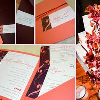 Stationery, Cakes, white, orange, brown, cake, Invitations, Invite, Wedding invitation, Swirl, Papercake designs