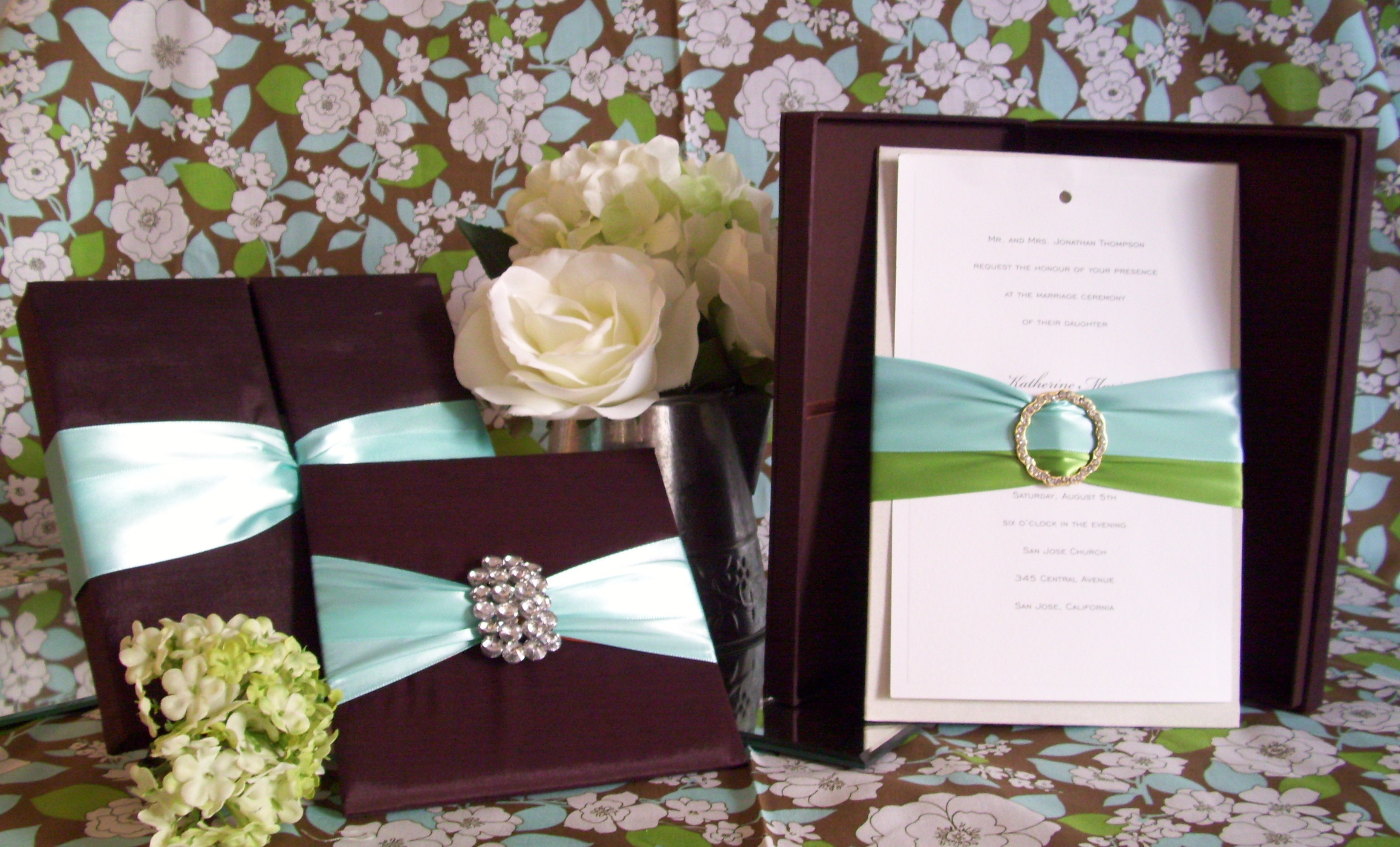 Stationery, blue, green, brown, gold, Invitations, Menu, Cards, Box, Silk, Folios, Pad, Southern charm design