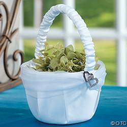 Ceremony, Flowers & Decor, white, silver, Flower, Girl, Basket