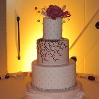 Reception, Flowers & Decor, Cakes, ivory, pink, cake, Amber-lighting