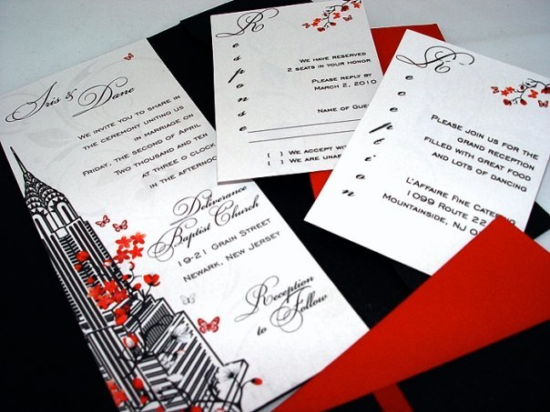 Stationery, white, red, black, Invitations, Empire, Cherry, Blossoms, Building, Sky, State, Gorgeous, Scrapers