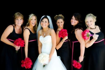 Flowers & Decor, Bridesmaids, Bridesmaids Dresses, Fashion, pink, black, Bridesmaid Bouquets, Flowers, And, Bouquets, Hot, Monday morning flowers, Flower Wedding Dresses