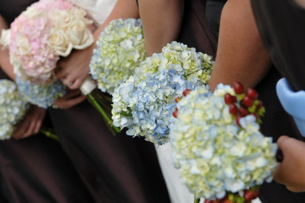 Flowers & Decor, Bridesmaids, Bridesmaids Dresses, Fashion, pink, blue, Bride Bouquets, Bridesmaid Bouquets, Flowers, Bouquet, Wedding, Bridal, Hydrangea, Bouqets, Bouqeuts, Flower Wedding Dresses