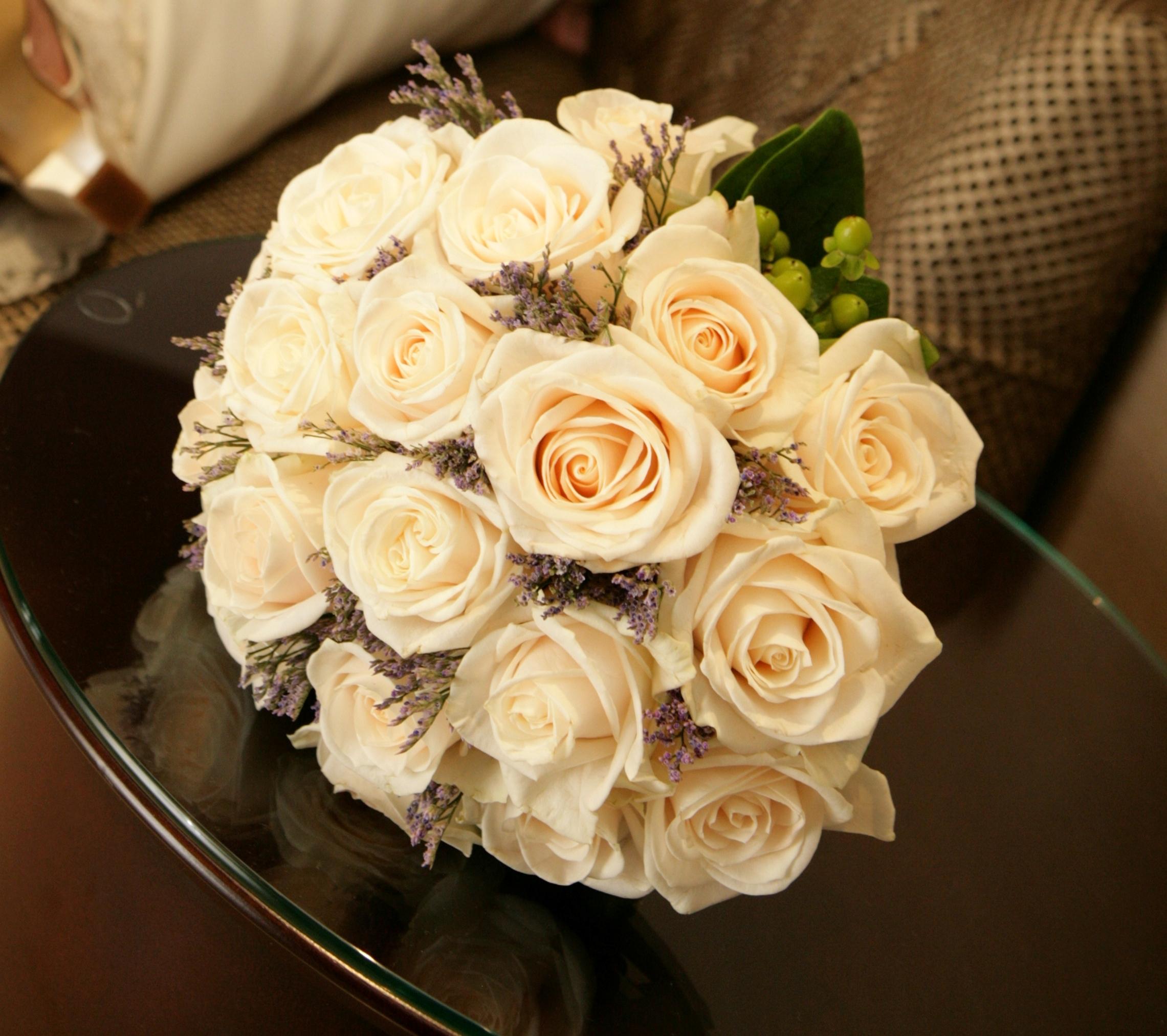 Flowers & Decor, Bridesmaids, Bridesmaids Dresses, Fashion, white, purple, Bride Bouquets, Bridesmaid Bouquets, Flowers, Roses, Bouquet, Bridal, Hand, Tied, Monday morning flowers, Flower Wedding Dresses