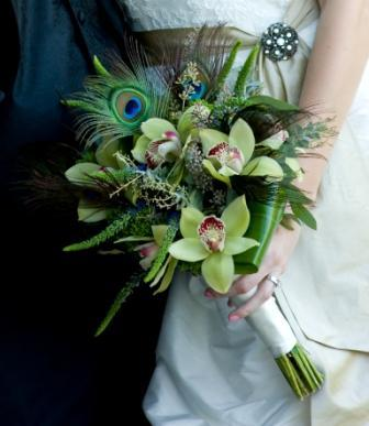 Beauty, Flowers & Decor, purple, green, Feathers, Bride Bouquets, Flowers, Bouquet, Bridal, Orchids, Cymbidium, Peacock, Feather, Monday morning flowers
