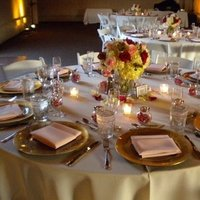 Reception, Flowers & Decor, ivory, pink, red, gold, Centerpieces, Candles, Flower, Centerpiece, Amber-lighting