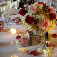 Reception, Flowers & Decor, ivory, pink, red, gold, Centerpieces, Candles, Flower, Centerpiece