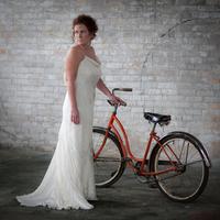 Inspiration, Wedding Dresses, Fashion, orange, dress, Bride, Board, The, Trash, Urban, Warehouse, Bike, Pheifer photography llc
