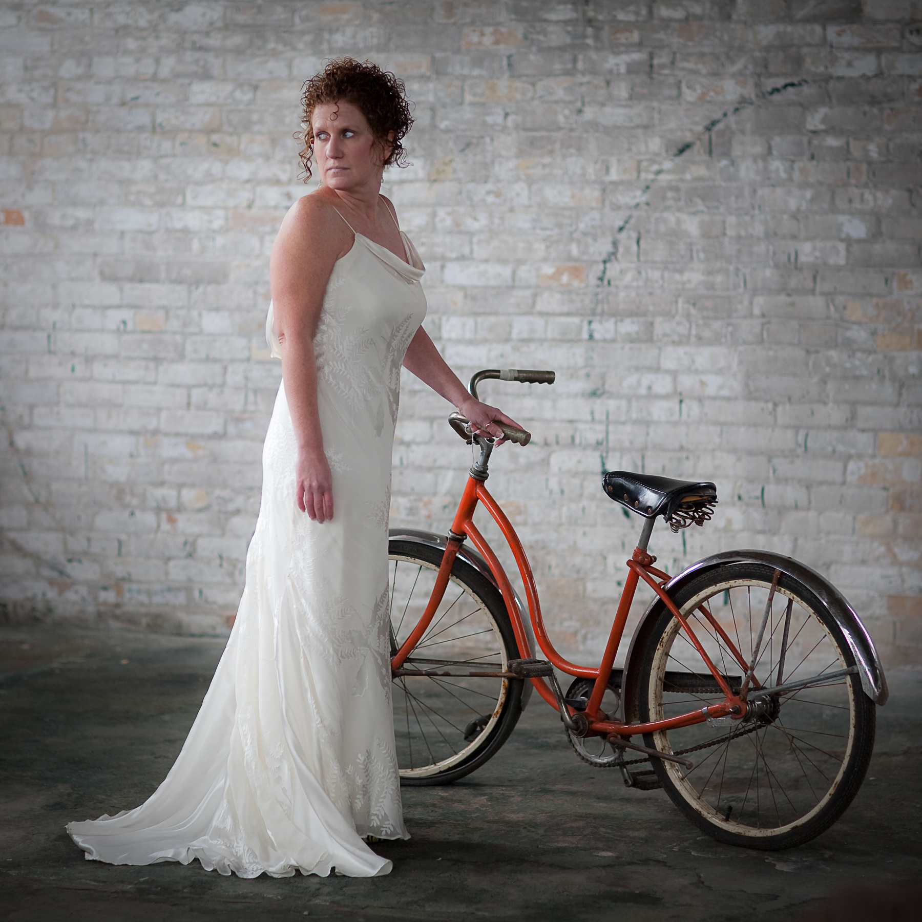 Inspiration, Wedding Dresses, Fashion, orange, dress, Bride, Board, The, Trash, Urban, Warehouse, Bike, Pheifer photography llc