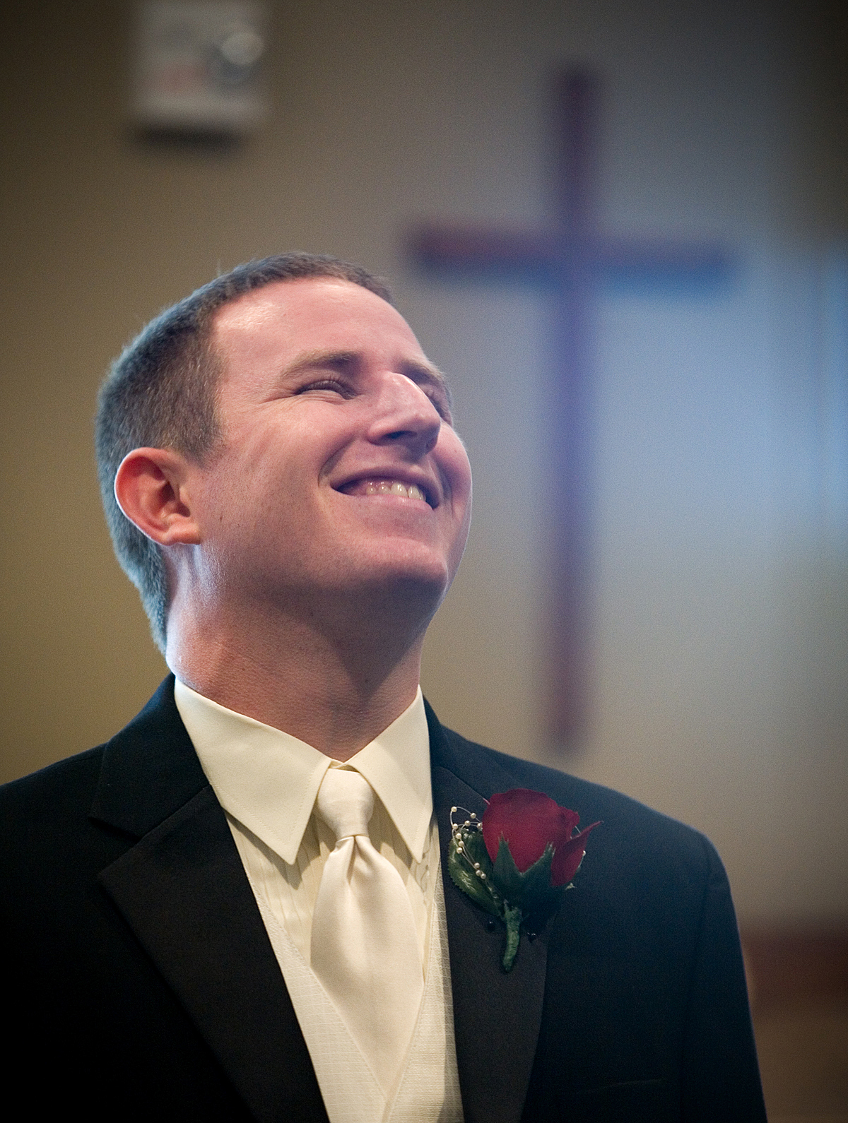 white, black, Groom, Waiting, Church, Laughter, Cross, Pheifer photography llc
