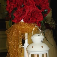 Ceremony, DIY, Flowers & Decor, ivory, red, gold, Ceremony Flowers, Flowers, Roses, Candle, Lantern