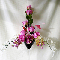 Reception, Flowers & Decor, white, pink, black, Flowers, Roses, And, Vase, Orchids, Tall, Martini, Hot, Centrepiece, Rainbow wedding flowers
