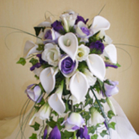 Flowers & Decor, white, purple, Bride Bouquets, Flowers, Roses, Bouquet, Of, Calla, Lilies, Bridal, Shower, Lilac, Lisianthus, Rainbow wedding flowers