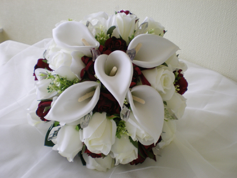 Flowers & Decor, white, red, Flowers, Roses, Of, Calla, Lilies, And, hand tied, Crystal, With, Jewels, Posy, Rainbow wedding flowers