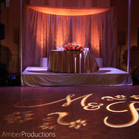 Monogram, Custom, Table, Sweetheart, Draping, Crystal, Gobo, Audio, Backdrop, Av, Amber event production lighting