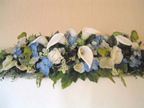 Reception, Flowers & Decor, white, blue, silver, Flowers, Of, Calla, Lilies, Table, Arrangement, Top