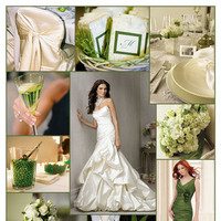 Inspiration, Reception, Flowers & Decor, Bridesmaids, Bridesmaids Dresses, Wedding Dresses, Cakes, Fashion, white, green, cake, dress, Bridesmaid Bouquets, Flowers, Jim hjelm, Board, Mori lee, Flower Wedding Dresses