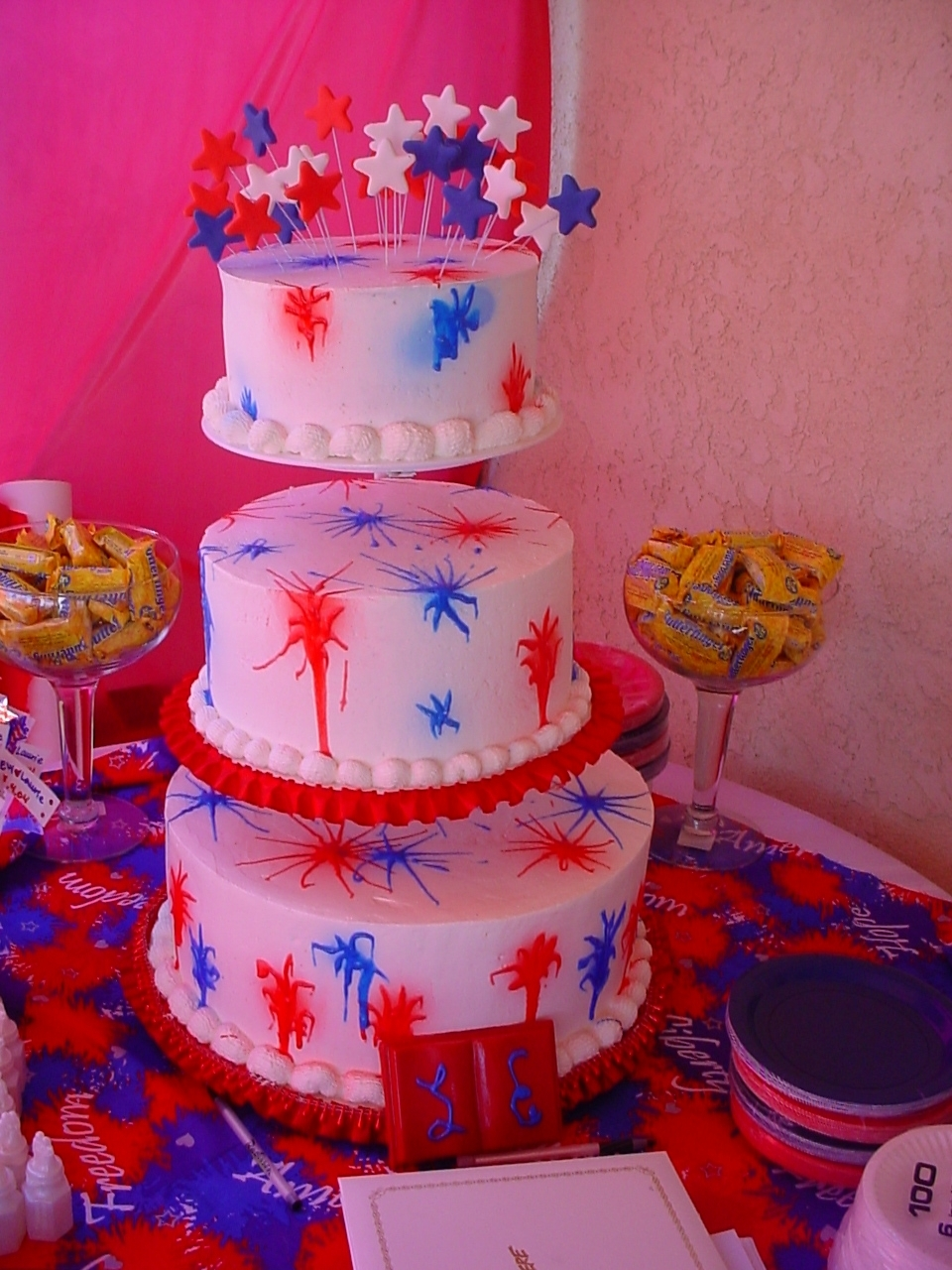 Cakes, white, red, blue, cake, Of, July, 4th, Always forever custom cakes