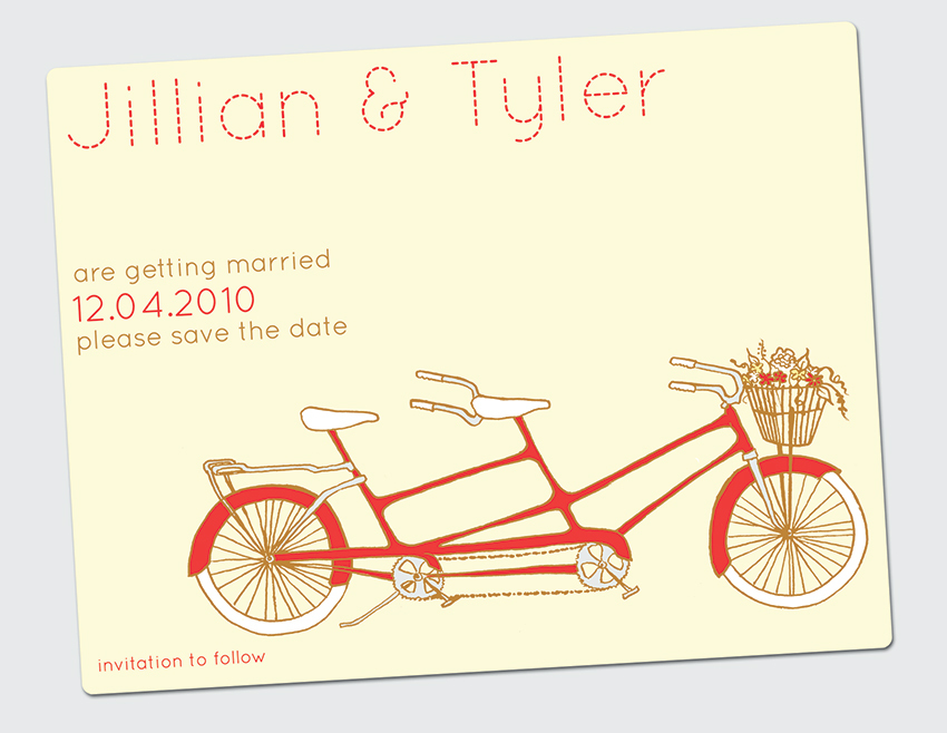 Stationery, yellow, red, invitation, Invitations, Save-the-Dates, Unique, The, Save, Date, Bike, Felice design, Illustrated