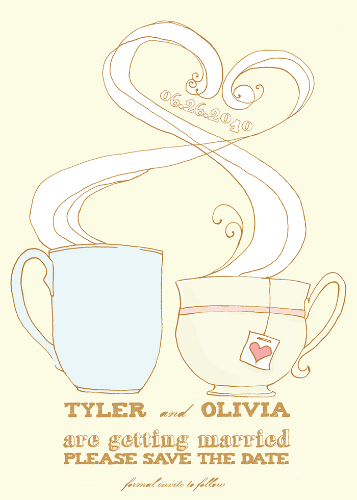 Stationery, yellow, blue, invitation, Invitations, Unique, Tea, The, Save, Date, Coffee, Felice design, Illustrated