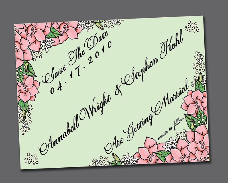 Flowers & Decor, Stationery, pink, green, invitation, Invitations, Flower, Unique, The, Save, Date, Felice design, Illustrated