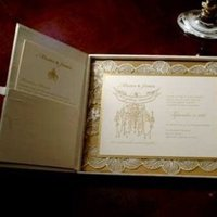 Stationery, white, brown, gold, Invitations