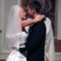 Ceremony, Flowers & Decor, Wedding Dresses, Fashion, white, dress, Bride, Groom, Church, And, Kissing, Service, Prophotonorthwest