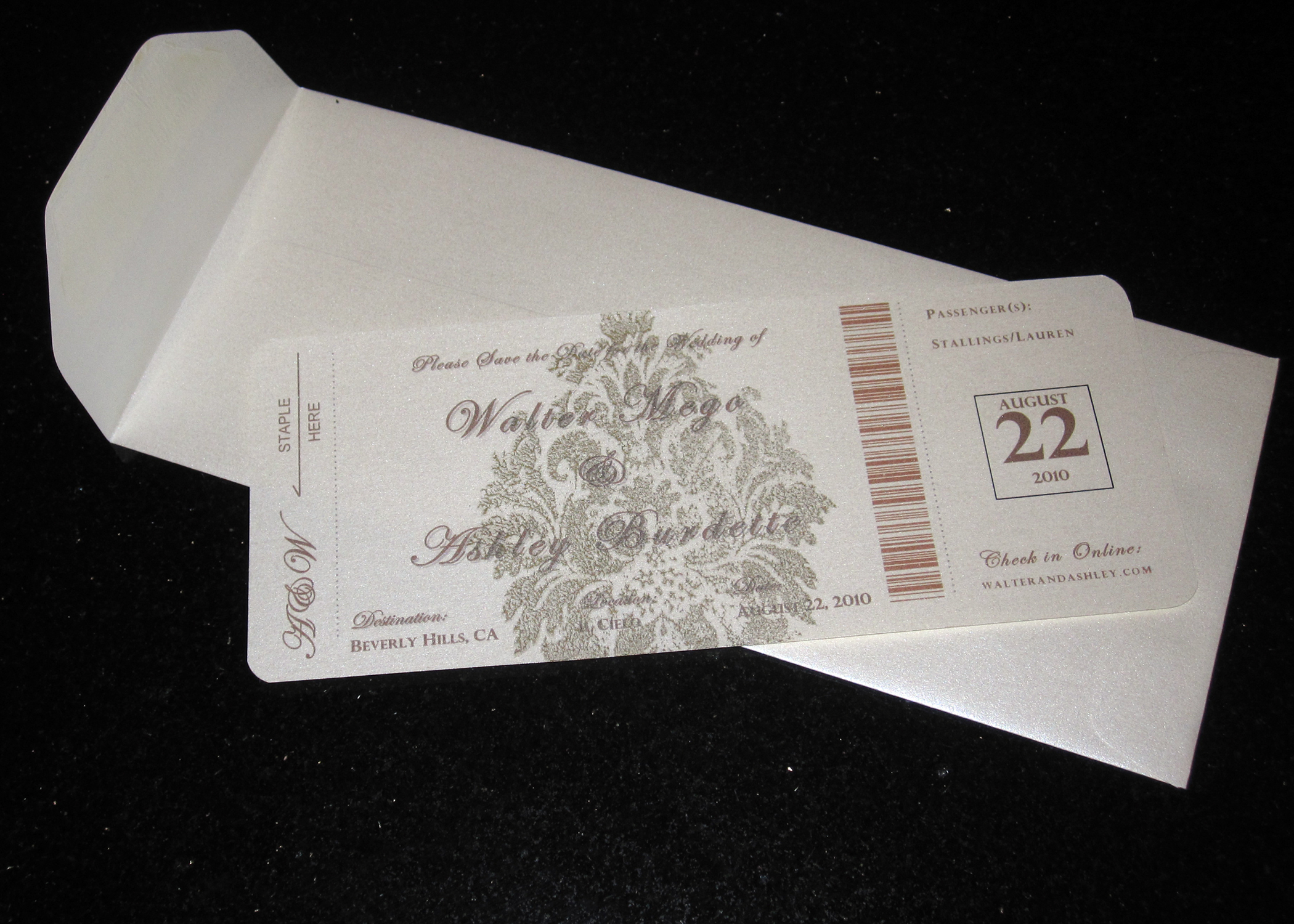 Stationery, brown, gold, Invitations, The, Save, Date, Pass, Boarding