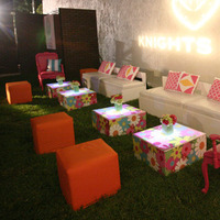 orange, pink, Ronen rental - boutique event furnishings