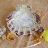 Ceremony, Flowers & Decor, Beach, Beach Wedding Flowers & Decor, Wedding, Ring, Seashell, Holder, Paw, Lions