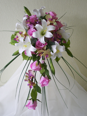 Flowers & Decor, white, pink, Bride Bouquets, Flowers, Roses, Bouquet, Lilies, Bridal, Shower, Hot, Rainbow wedding flowers, Longiflorum