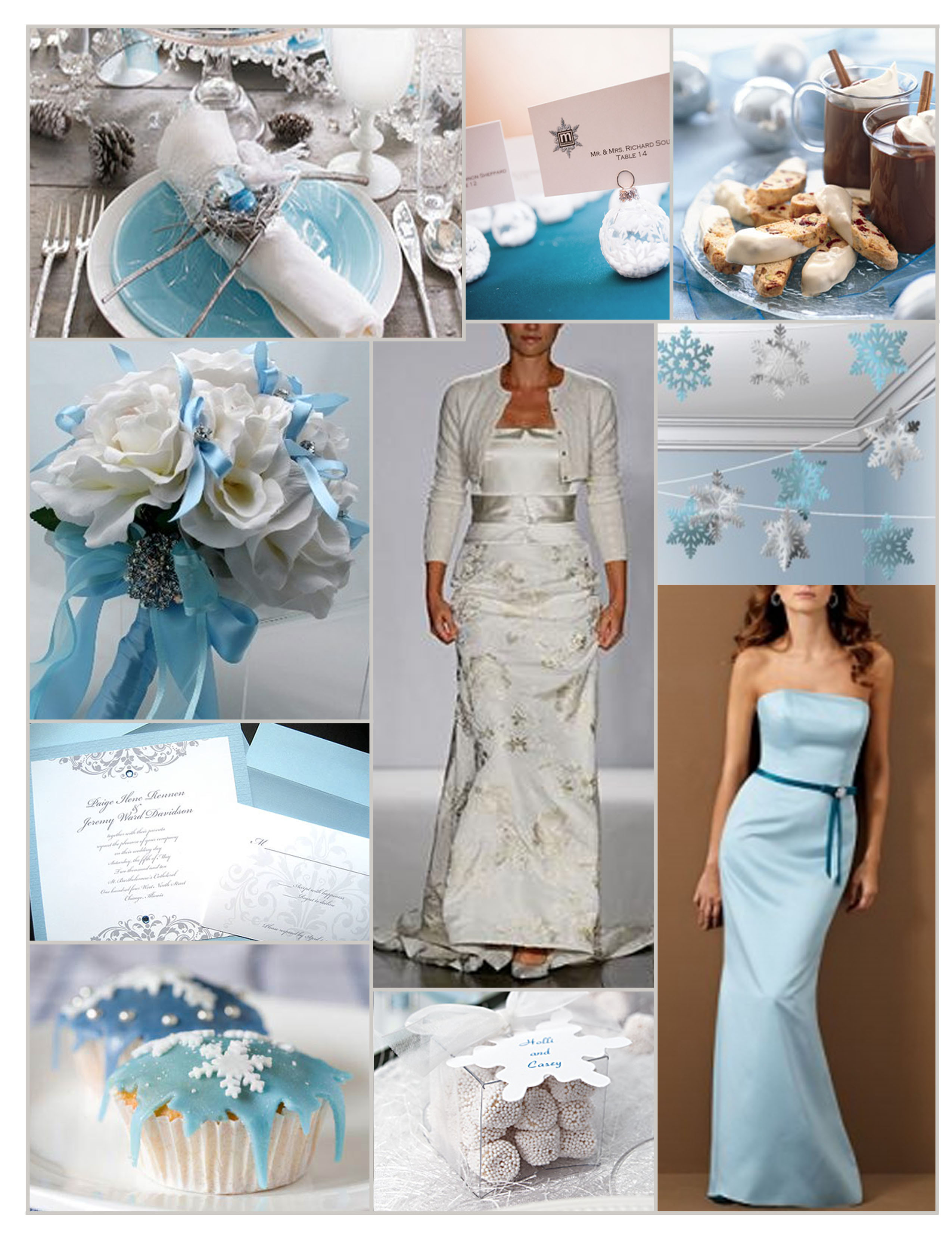 Inspiration, Reception, Flowers & Decor, Bridesmaids, Bridesmaids Dresses, Wedding Dresses, Cakes, Fashion, white, blue, silver, cake, dress, Bridesmaid Bouquets, Flowers, Board, Priscilla of boston, Alfred angelo, Flower Wedding Dresses