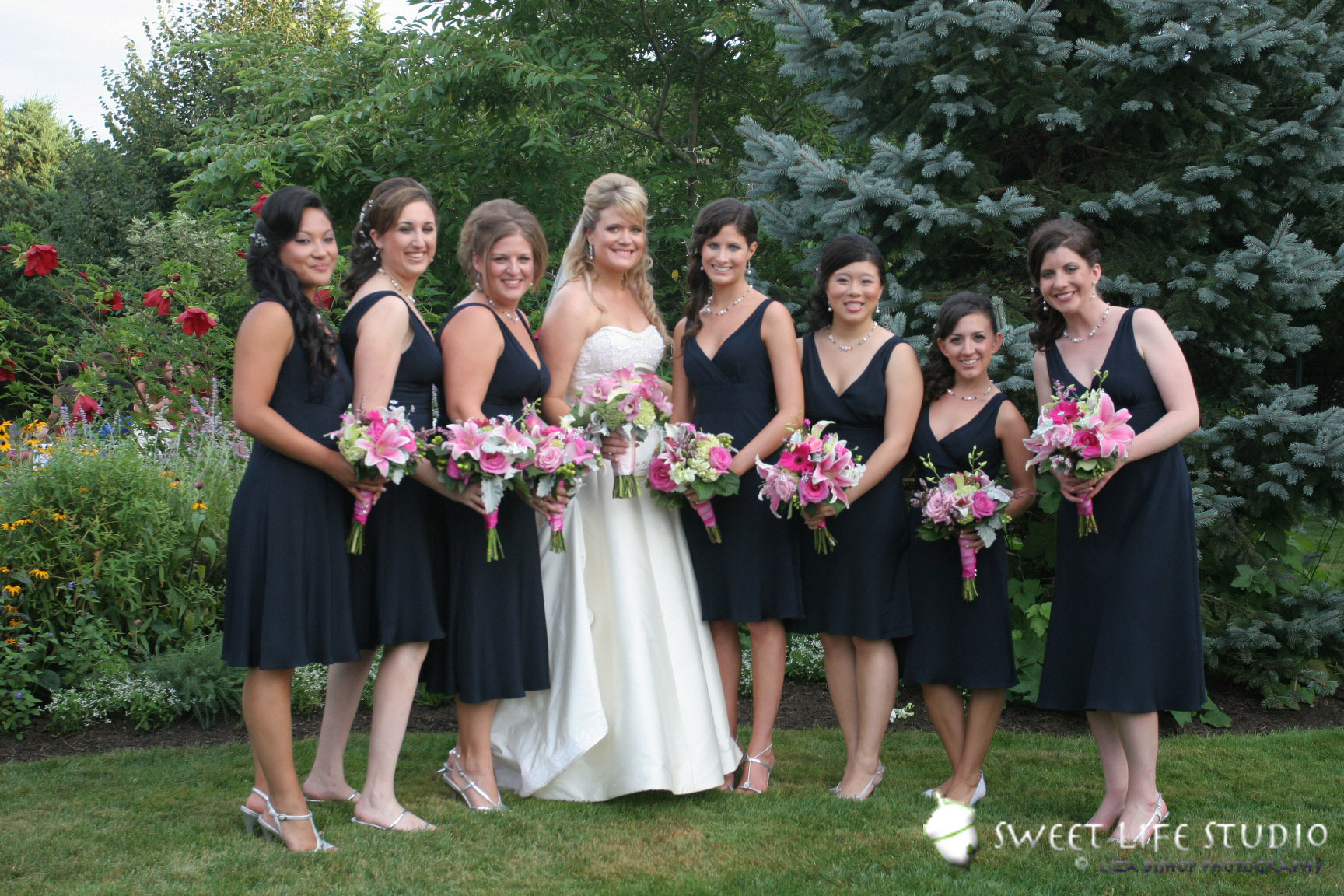 Bride and bridemates hot pink and apple greenvendors for Black and pink wedding dress