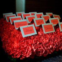 Reception, Flowers & Decor, Stationery, red, Escort Cards, Flowers, Cards, Escort, Carnations, Green orchid events
