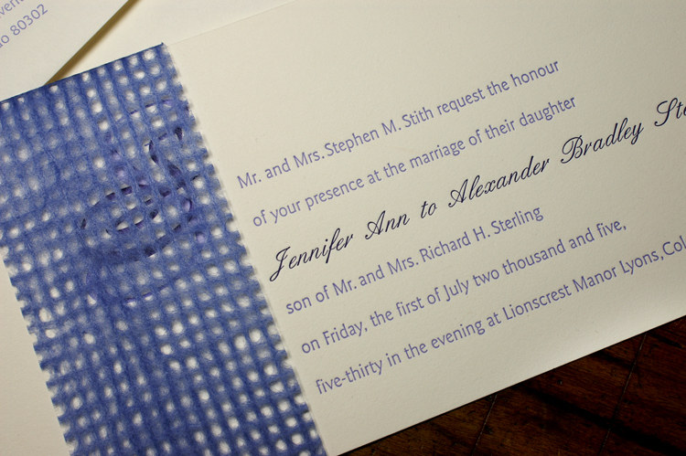 Stationery, white, purple, invitation, Invitations, Lace, Letterpress, Overlay, Smokeproof press