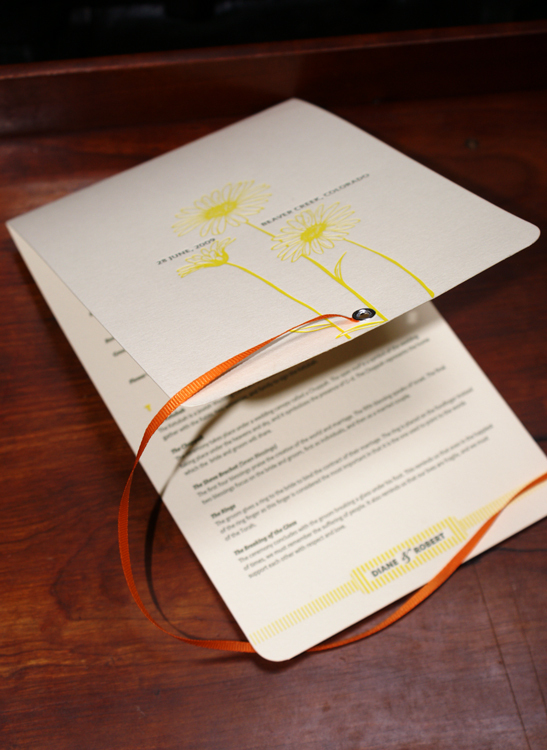 Stationery, white, yellow, orange, Ceremony Programs, Custom, Program, Ribbon, Booklet, Letterpress, Eyelet, Smokeproof press