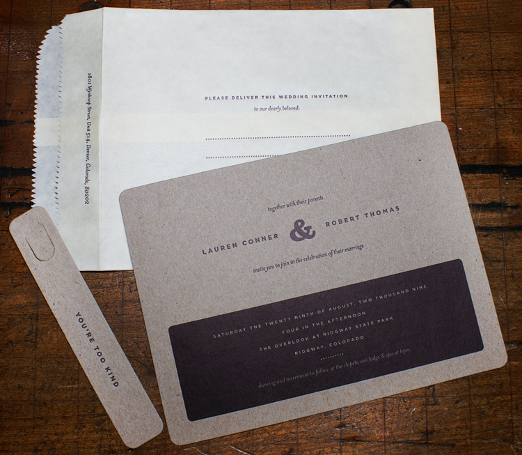 Stationery, white, brown, invitation, Invitations, Map, Custom, Letterpress, Flood, Smokeproof press, Knockout