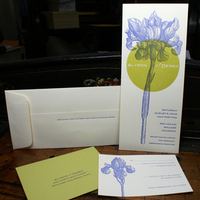 Stationery, white, yellow, green, invitation, Invitations, Letterpress, Botanical, Vertical, Smokeproof press, Knockout