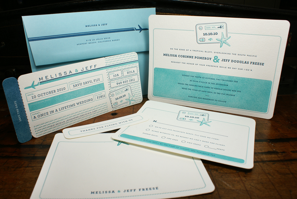 Stationery, Destinations, white, blue, invitation, travel, Invitations, Save-the-Dates, Save the date, Ticket, Custom, Destination, Letterpress, Boarding pass, Smokeproof press, Pinhole perforation