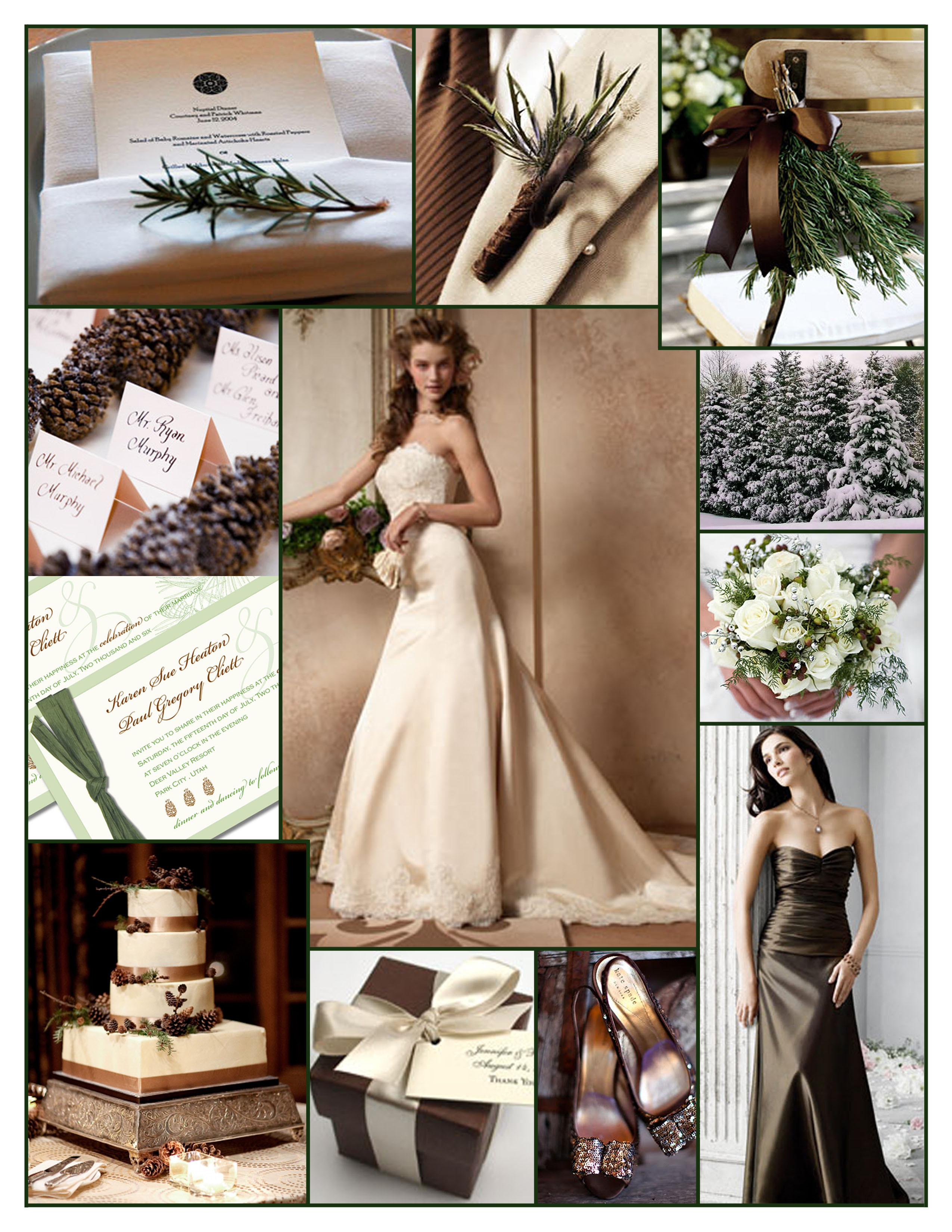 Inspiration, Reception, Flowers & Decor, Bridesmaids, Bridesmaids Dresses, Wedding Dresses, Stationery, Cakes, Fashion, white, green, brown, cake, dress, Bridesmaid Bouquets, Winter, Invitations, Flowers, Board, Holiday, Christmas, Alvina valenta, Pinecone, Pine, Jim hjelm occasions, winter wedding dresses, Flower Wedding Dresses