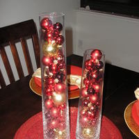 Reception, Flowers & Decor, red, gold, Centerpieces, Winter, Centerpiece, Ornament centerpiece