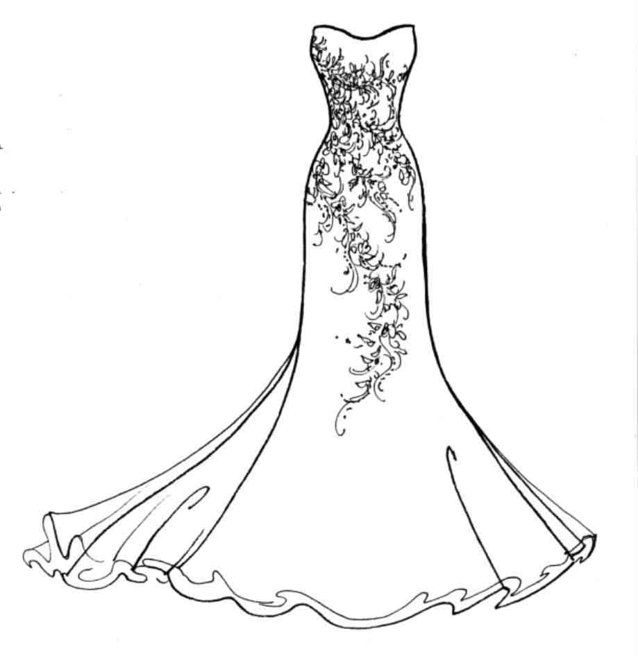Wedding fashion drawing for How to draw a wedding dress