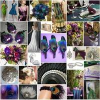 Beauty, purple, blue, green, Feathers, Vintage, Maggie Sottero, Inspiration board, Peacock, Lighthouse