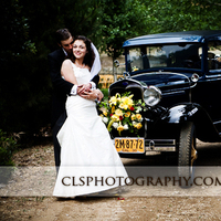 Christine lee smith photography, Bride and groom in front of car