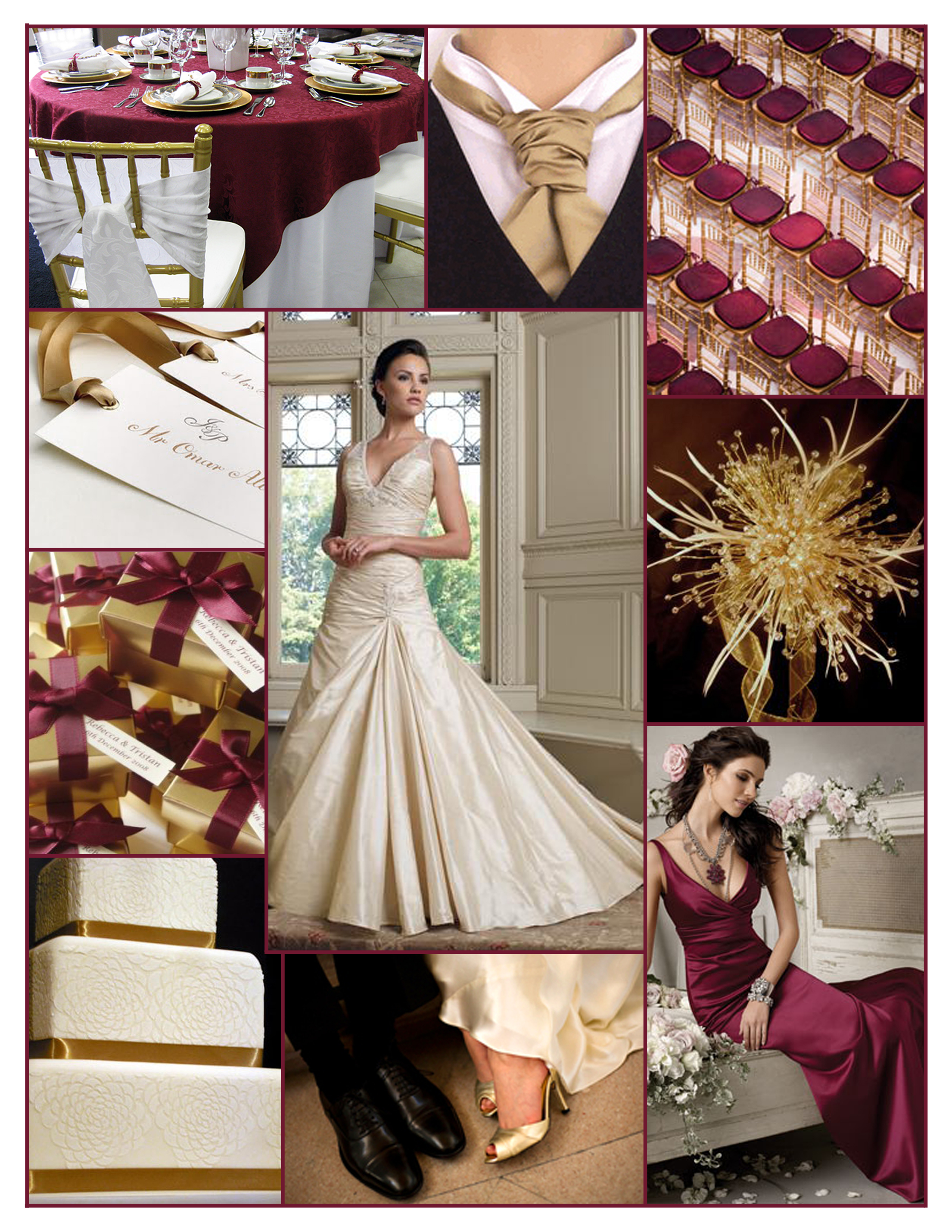Ceremony, Inspiration, Reception, Flowers & Decor, Bridesmaids, Bridesmaids Dresses, Wedding Dresses, Cakes, Fashion, white, red, burgundy, gold, cake, dress, Winter, Board, Holiday, Christmas, Jim hjelm occasions, Mon cheri, winter wedding dresses