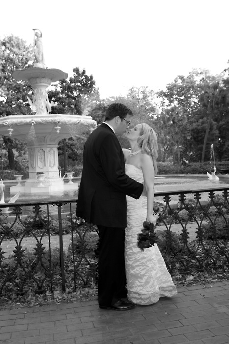 Wedding Dresses, Fashion, dress, Bride, Groom, Portrait, Fountain, Kiss, Park, Savannah