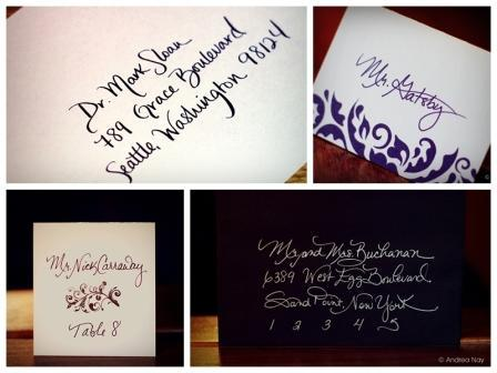 Inspiration, Calligraphy, Stationery, white, purple, brown, black, Invitations, Save-the-Dates, Place Cards, Board, Envelopes, Writing, Andrea nay creative, Addressing, Lettering