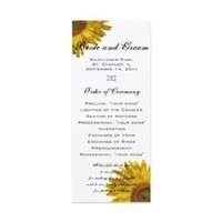 Ceremony, Flowers & Decor, Stationery, white, yellow, Invitations, Flower, Program, Floral, Wedding program, Summer wedding, Sunflower, A wedding collection by lora severson photography, Sunflower wedding, Floral wedding, Order of ceremony