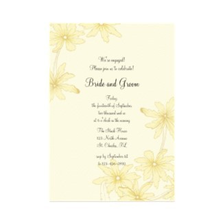 Flowers & Decor, Stationery, yellow, invitation, Spring, Invitations, Engagement Party, Flower, Floral, Daisy, Engagement, Engaged, A wedding collection by lora severson photography, Engagement party invitation